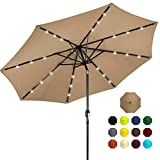 Best Choice Products 10ft Solar Powered Aluminum Polyester LED Lighted Patio Umbrella w/Tilt...