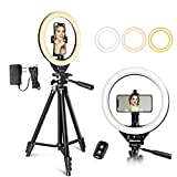 10'' LED Ring Light with Stand and Phone Holder, UBeesize Selfie Halo Light for...