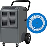 hOmeLabs Commercial Grade 140 Pint Dehumidifier - Built-In Pump, Includes Drain Hose and Washable...
