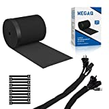 Cable Management Sleeves,MEGAQ Cable Tidy Cuttable Neoprene Cord Management Organizer...