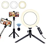 8' Selfie Ring Light with Selfie Stick Tripod for Live Stream/Makeup, Saveyour Mini LED Camera...