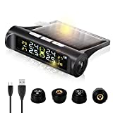 Zmoon TPMS Car Tire Pressure Monitoring System with Solar Power Universal Wireless LCD Display and 4...