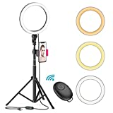 8' LED Selfie Ring Light for Live Stream/Makeup/YouTube Video, Dimmable Beauty Ringlight with Tripod...