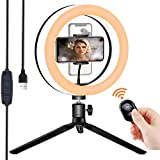 10' Selfie Ring Light with Tripod Stand, LED Camera Light with Phone Holder Remote Control, Dimmable...