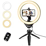 UBeesize 10' Selfie Ring Light with Tripod Stand & Cell Phone Holder, Dimmable Desktop LED Circle...