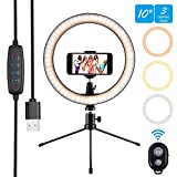 10' Ring Light Selfie Light Ring with Tripod Stand & Cell Phone Holder and Remote Control 3000-5500K...