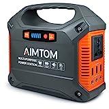 AIMTOM 42000mAh 155Wh Power Station, Emergency Backup Power Supply with Flashlights (Solar Panel...
