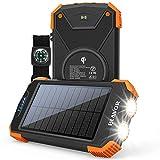 Solar Power Bank, Qi Portable Charger 10,000mAh External Battery Pack Type C Input Port Dual...