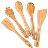 Bamboo Wooden Spoons for Cooking Long Handle, (5 Pc) Nonstick Cookware Kitchen Utensils Set, Wood...