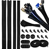 """Versatile Cable Management Organizer Kit-PC Cable Management Sleeves with Zipper-393"""" Resuable..."""