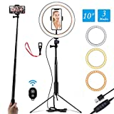 Ring Light 10' Selfie Light Ring with Adjustable Bracket (14.56'' to 65'') Remote Control 3 Modes &...