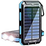 Solar Power Bank, YELOMIN 20000mAh Portable Solar Charger, Waterproof Backup Battery Pack with Dual...