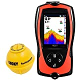 LUCKY Portable Fish Finder Transducer Sonar Sensor 147 Feet Water Depth Finder LCD Screen Echo...