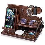 TESLYAR Wood Phone Docking Station Ash Key Holder Wallet Stand Watch Organizer Men Gift Husband Wife...