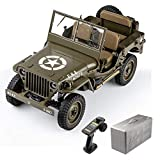 RocHobby RC Car 1/6 1941 MB Scaler Willys Jeep Remote Control Vehicle Military Truck Ready Set with...