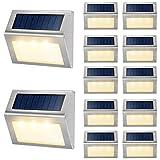 Solar Deck Lights Outdoor JSOT [Warm Light] Bright Fence Light with Light Sensor Waterproof...