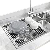 Seropy Roll Up Dish Drying Rack Over the Sink for Kitchen RV Sink 17.8x15.7 Inch Kitchen Drying Rack...