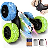 REAPP Remote Control Car for Kids, 2.4 GHz 4WD RC Stunt Car with Headlights, Double Sided 360 Degree...