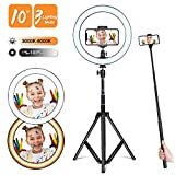 Selfie Ring Light with Adjustable Tripod Stand and Phone Holder, Winjoy 10'' Dimmable LED Lighting...