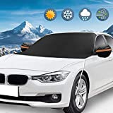 KKTICK Windshield Snow Cover, Ice Snow Frost Cover with Rearview Mirror Covers & Hooks, Windscreen...