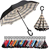 BAGAIL Double Layer Inverted Umbrella Reverse Folding Umbrellas Windproof UV Protection Big Straight...