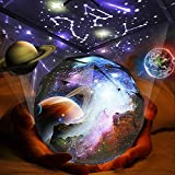 Kids Night Light Projector, 360°Rotating Planet Night Lighting Lamps Starry Galaxy Projector for...
